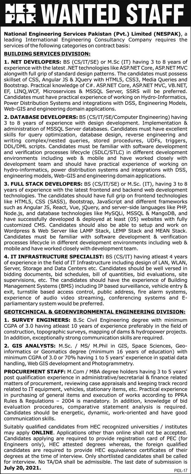 National Engineering Services Pakistan NESPAK Jobs 2021 In Lahore