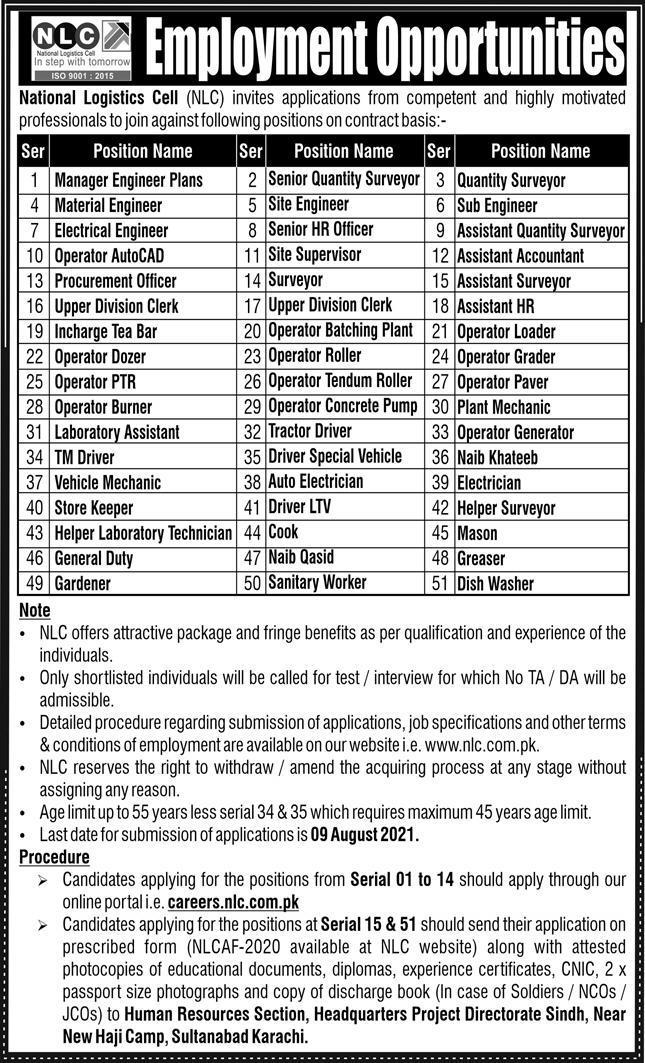 National Logistics Cell NLC Jobs 2021 In Karachi