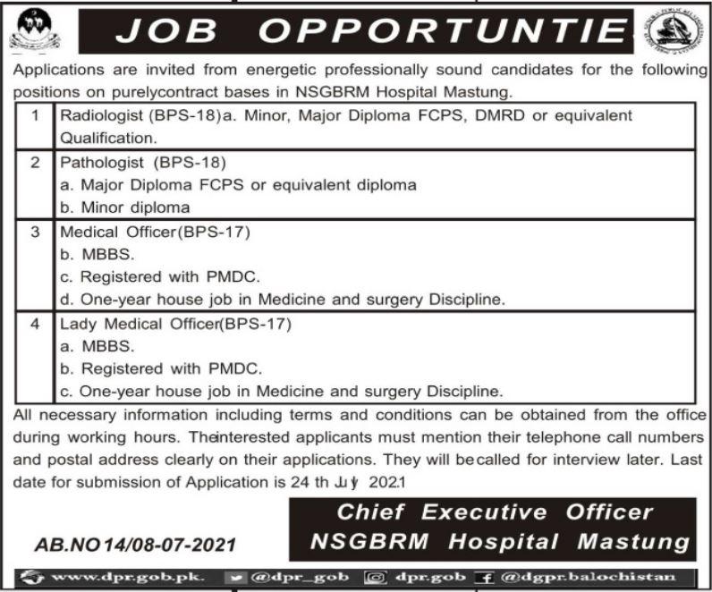 Nawab Shaheed Ghous Bakhsh Raisani Memorial Hospital Mastung Jobs 2021