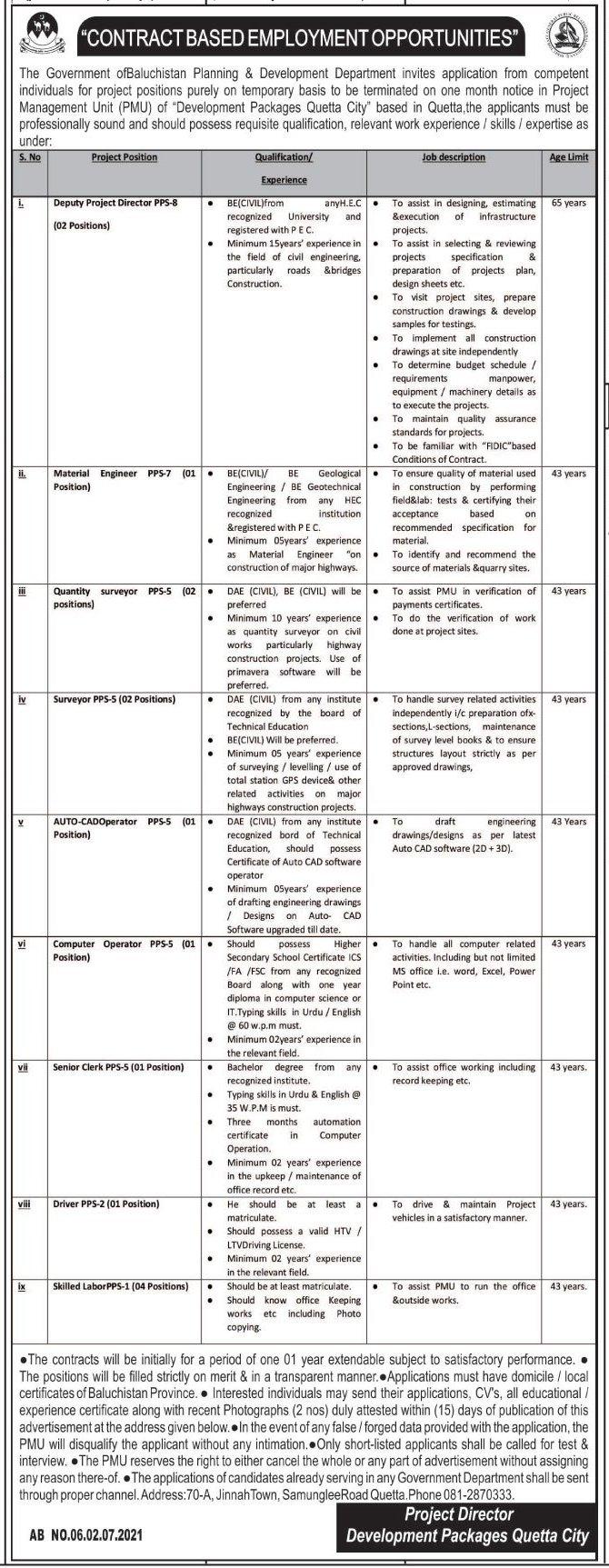 Planning & Development Department Jobs 2021 In Quetta Balochistan