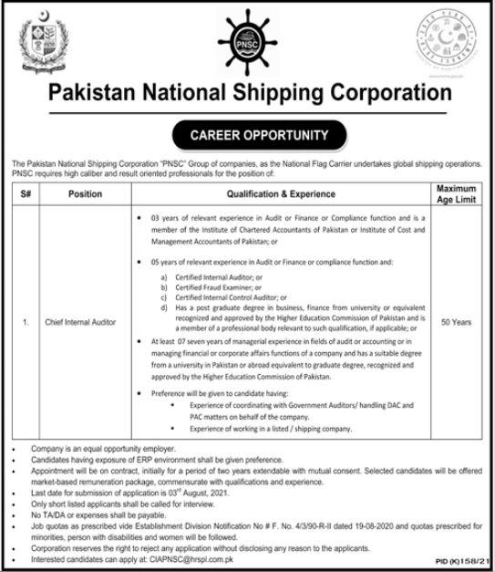 PNSC Karachi Chief Internal Auditor Jobs 2021