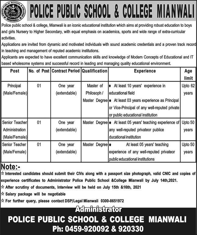 Police Public School & College Jobs 2021 In Mianwali