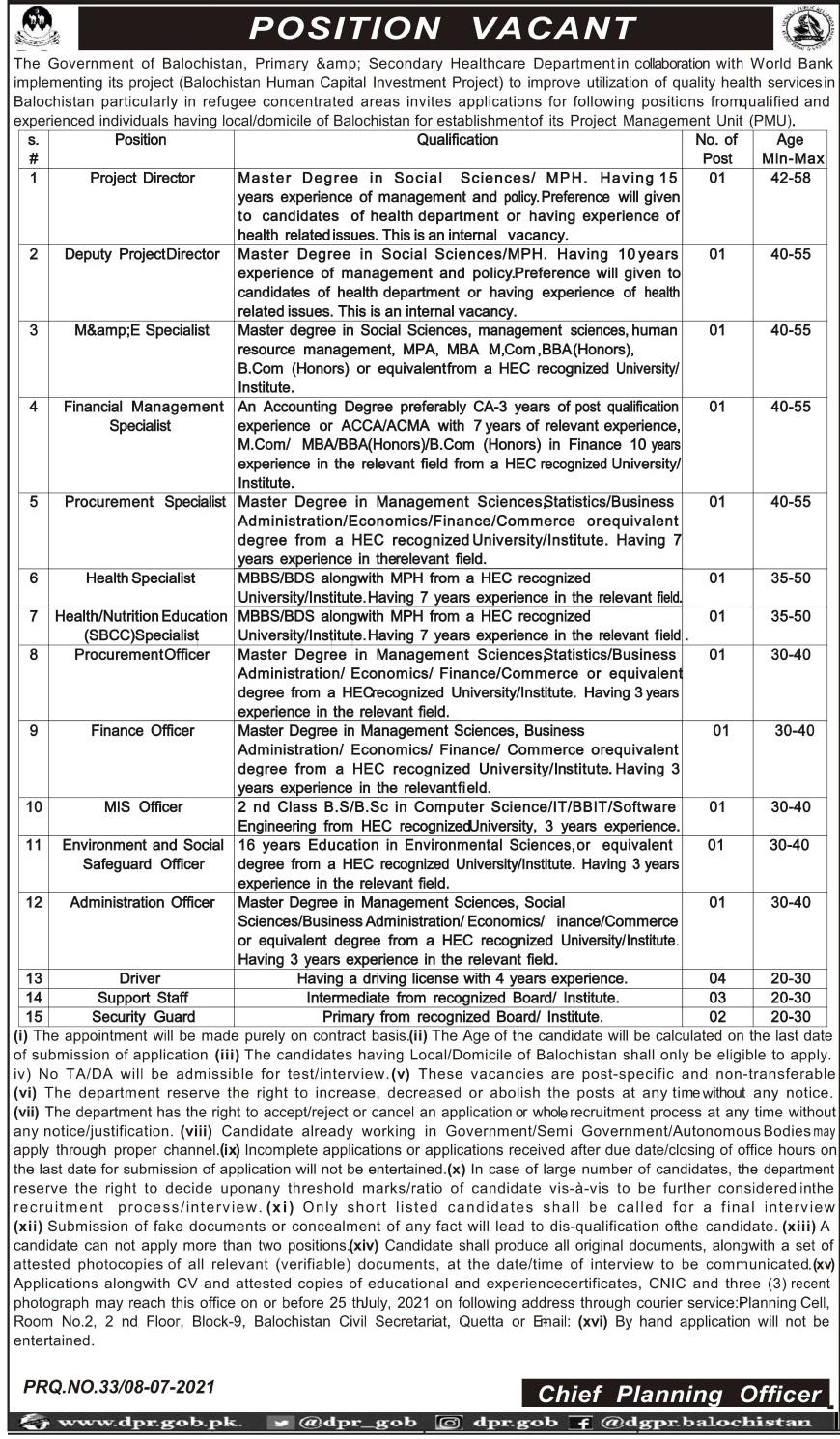 Primary & Secondary Healthcare Department Jobs 2021 In Quetta Balochistan