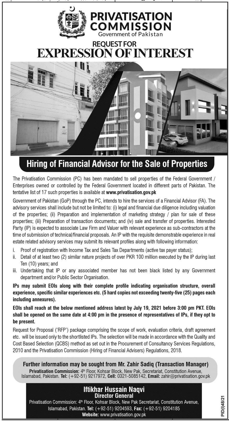 Privatisation Commission Job 2021 For Financial Advisor