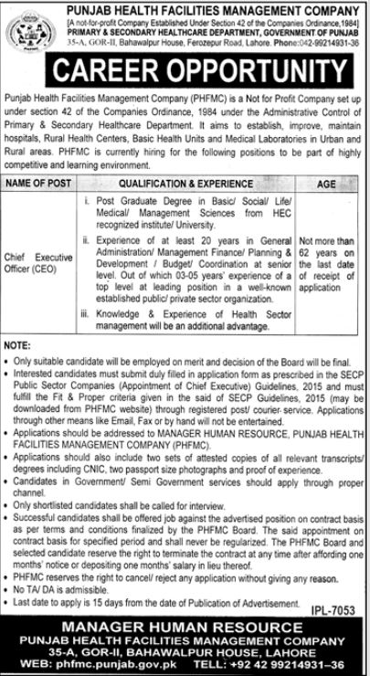Punjab Health Facilities Management Company Job 2021 For Chief Executive Officer CEO