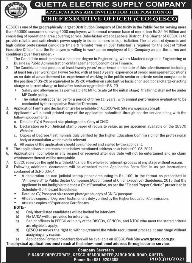 Quetta Electric Supply Company QESCO Job 2021 For Chief Executive Officer CEO