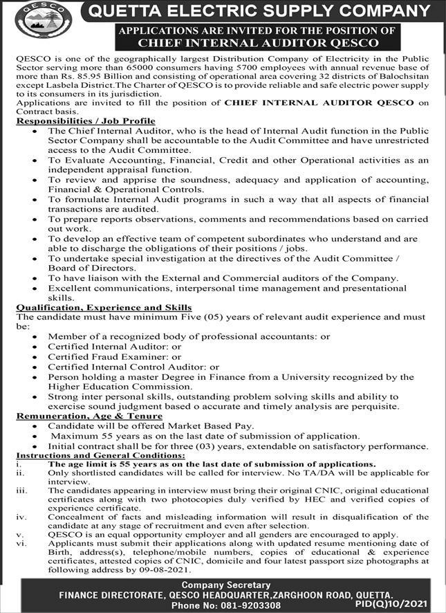 Quetta Electric Supply Company QESCO Job 2021 For Chief Internal Auditor