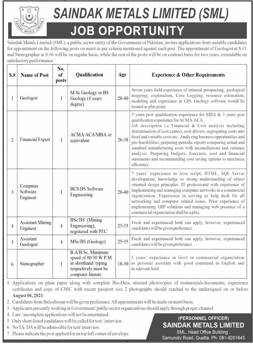Saindak Metals Limited SML Jobs 2021 In Quetta Balochistan