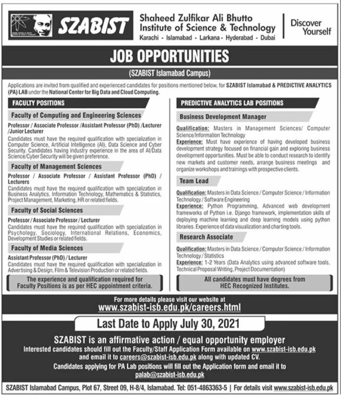 Shaheed Zulfiqar Ali Bhutto Institute of Technology SZABIST Jobs