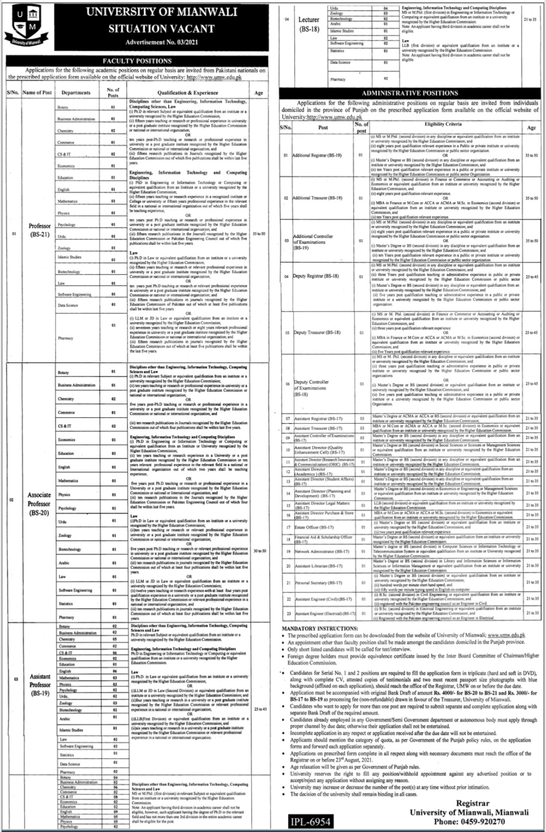 University of Mianwali Faculty & Administrative Staff Jobs 2021
