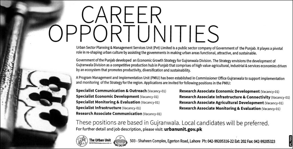 Urban Sector Planning & Management Services Unit Jobs 2021 In Gujranwala