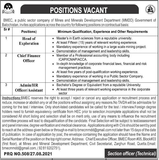 Balochistan Mineral Exploration Company BMEC Jobs 2021 In Quetta Balochistan