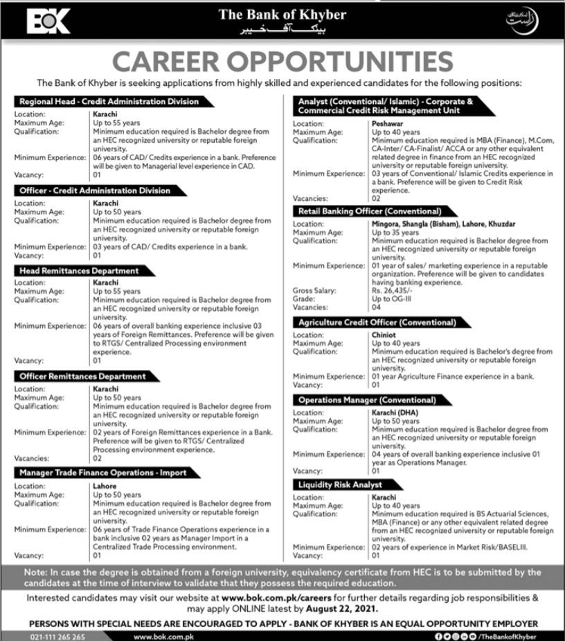 Bank of Khyber BoK Management Jobs 2021