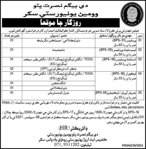 Begum Nusrat Bhutto Women University Teaching Staff & Generator Operator Jobs 2021