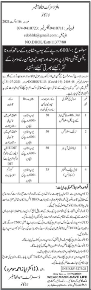 District Health Office Jobs 2021 In Larkana