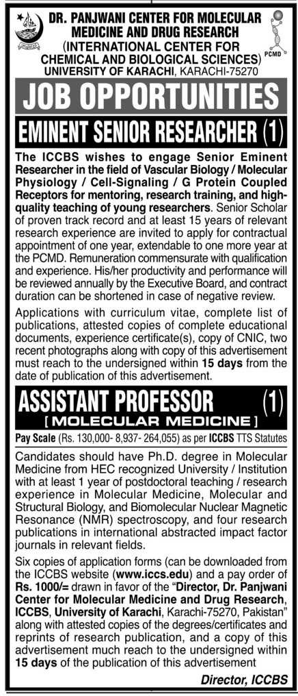 Dr Panjwani Center For Molecular Medicine And Drug Research Job 2021