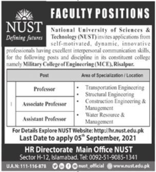 Military College of Engineering MCE Faculty Jobs 2021 In Risalpur