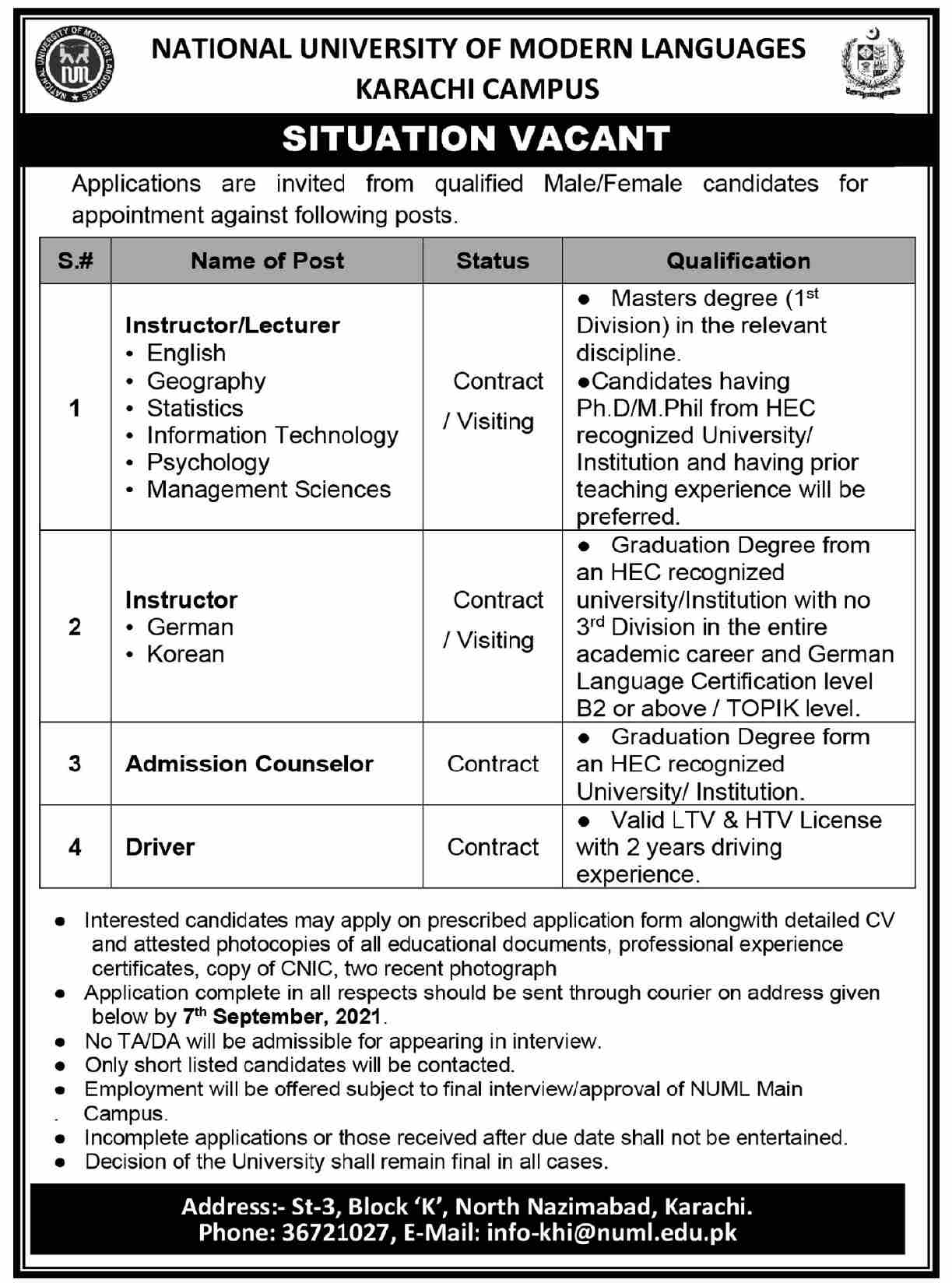 National University of Modern Languages NUML Karachi Campus Jobs 2021