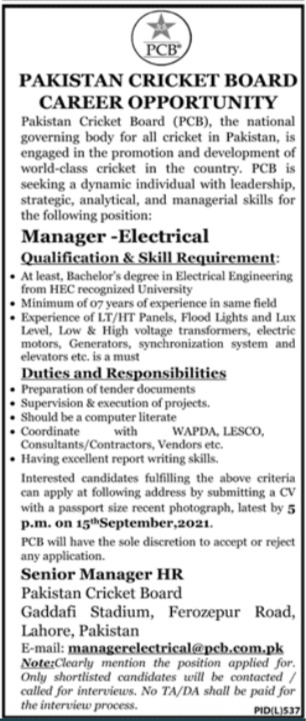 Pakistan Cricket Board PCB Job 2021 For Manager Electrical