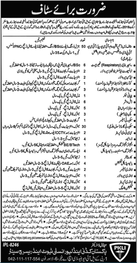 Pakistan Kidney & Liver Institute And Research Center Jobs 2021