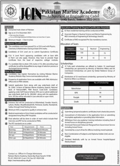 Pakistan Marine Academy Nautical & Engineer Cadet Jobs 2021