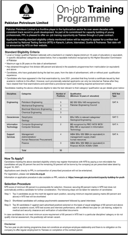 Pakistan Petroleum Limited PPL on Jobs Training Programme 2021 Via NTS