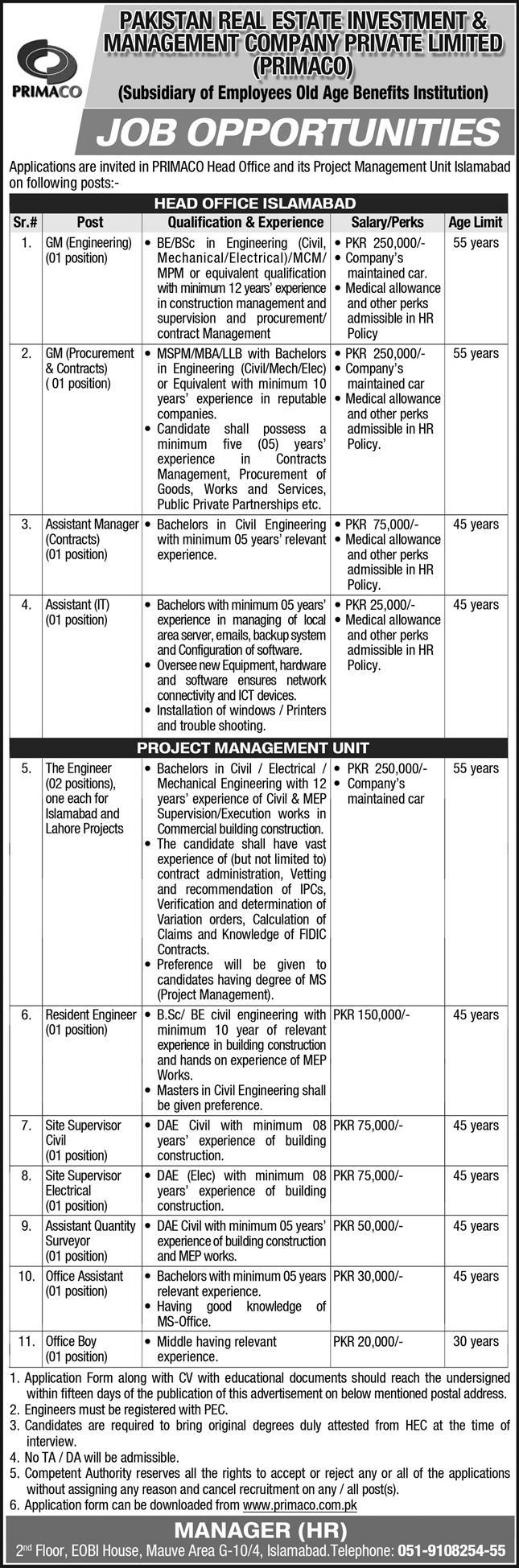 Pakistan Real Estate Investment & Management Company PRIMACO Jobs 2021