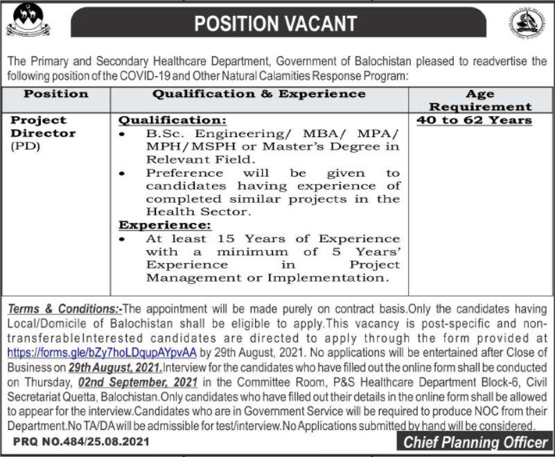 Primary & Secondary Healthcare Department Job 2021 In Quetta Balochistan