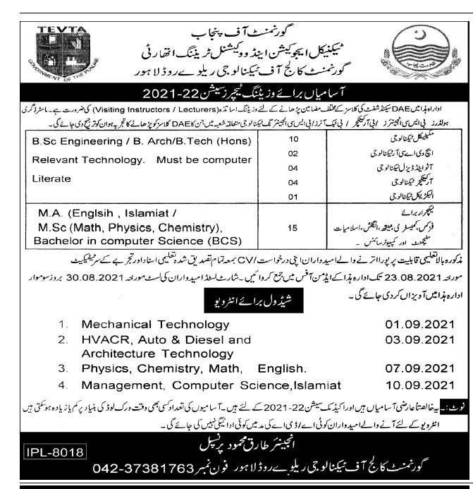 TEVTA Government College of Technology Jobs 2021 In Lahore