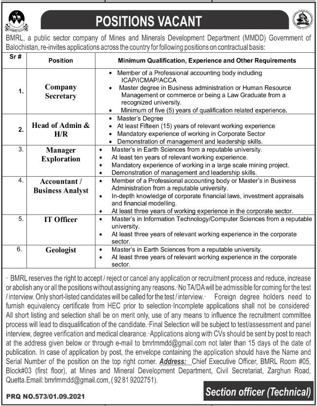 Balochistan Minerals Resource Limited BMRL Jobs 2021 In Quetta Balochistan