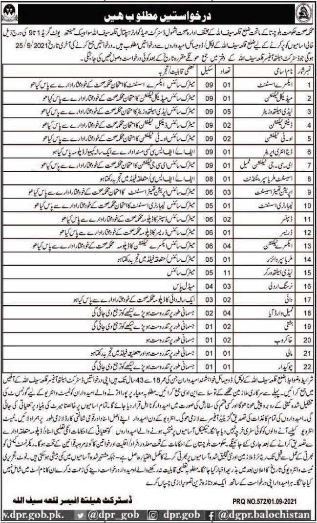 Health Department Jobs 2021 In Killa Saif Ullah
