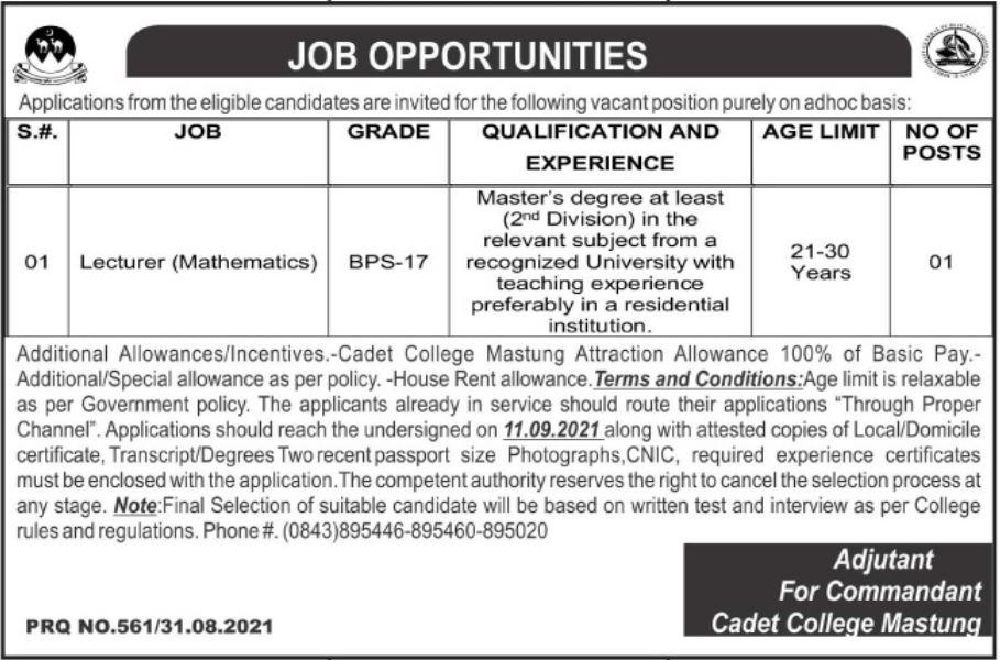 Pak Army Cadet College Mastung Job 2021 For Mathematics Lecturer