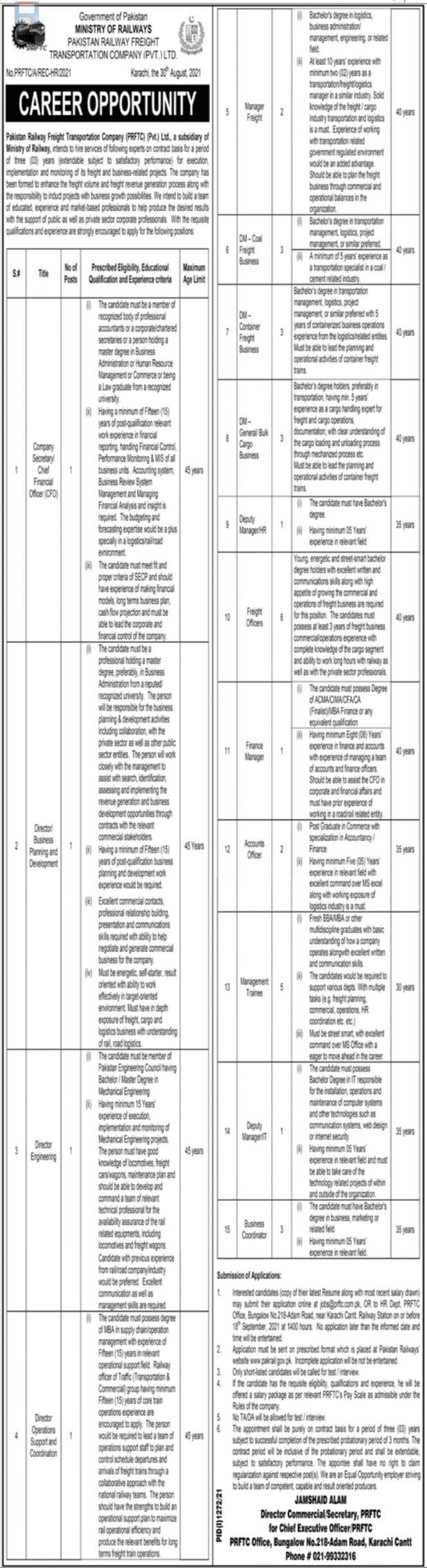 Pakistan Railway Freight Transportation Company Jobs 2021 In Karachi