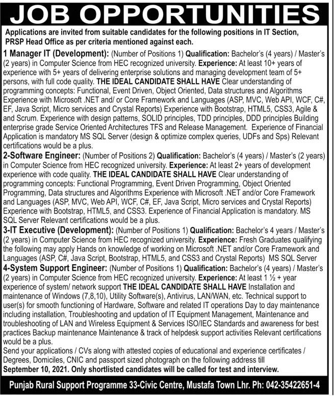 Punjab Rural Support Program PRSP Jobs 2021 In Lahore