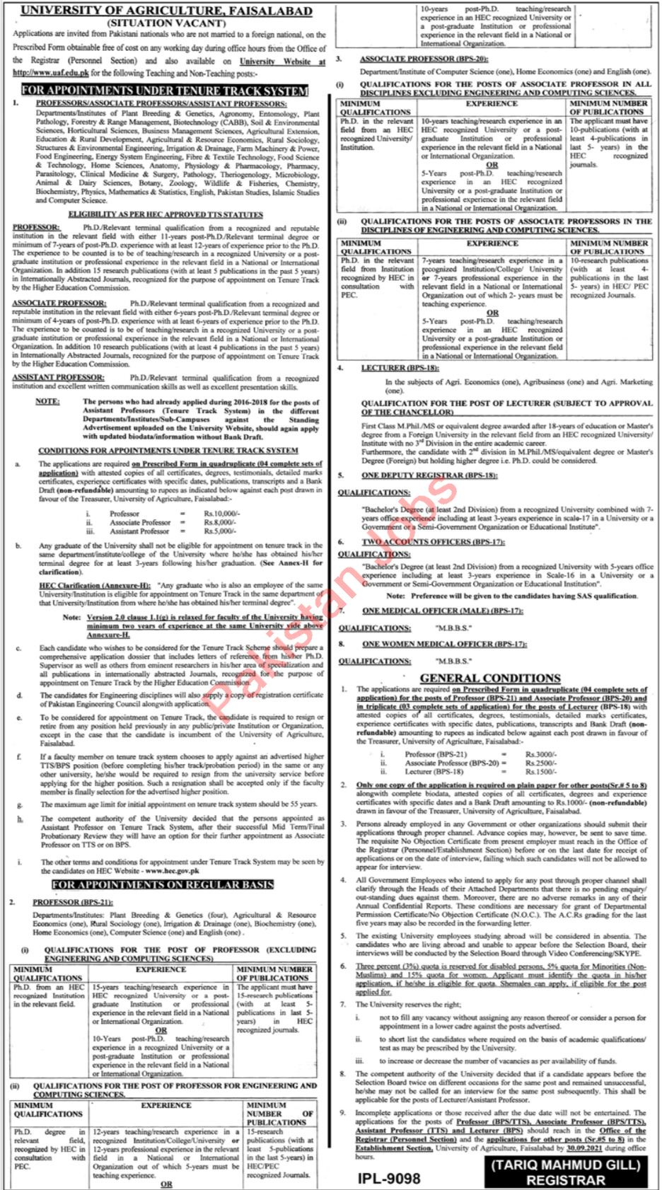 University of Agriculture Faculty Jobs 2021 In Faisalabad