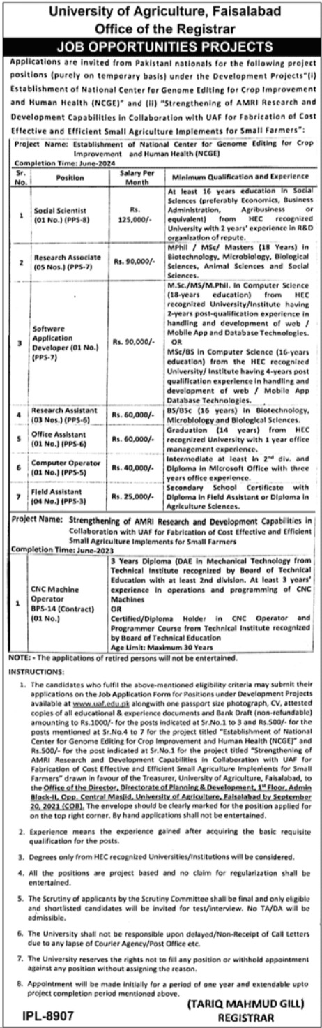 University of Agriculture Faisalabad Jobs 2021 For Management Staff