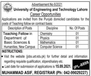 University of Engineering & Technology UET Job 2021 For Teaching Fellow
