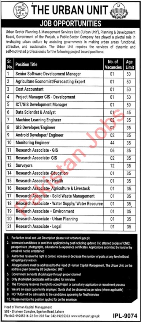 Urban Sector Planning & Management Services Unit Jobs 2021 In Lahore