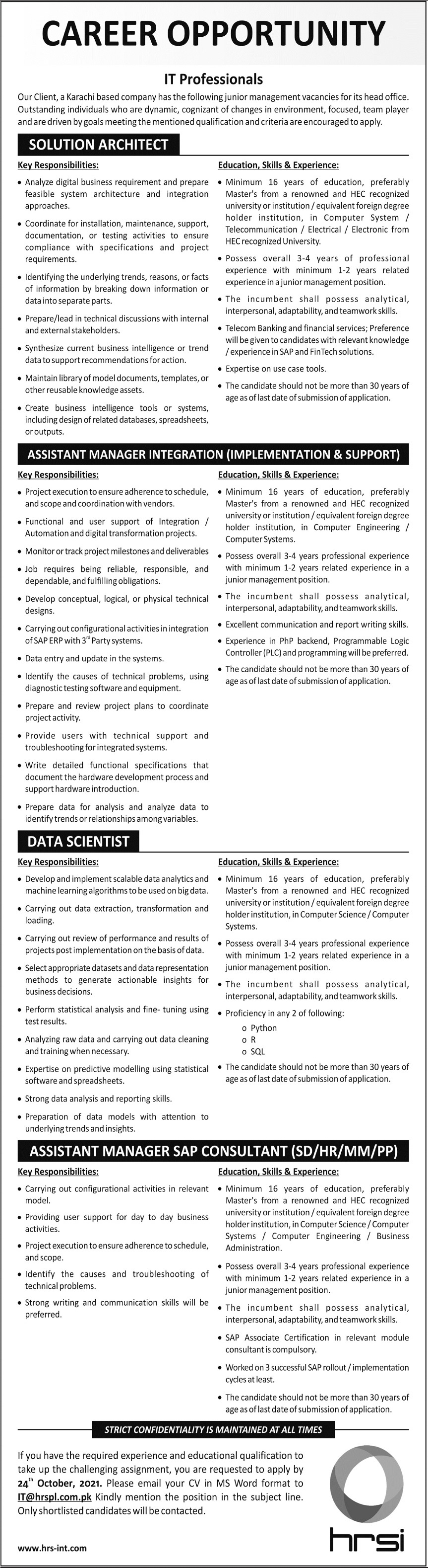 Human Resource Solution IT Jobs 2021