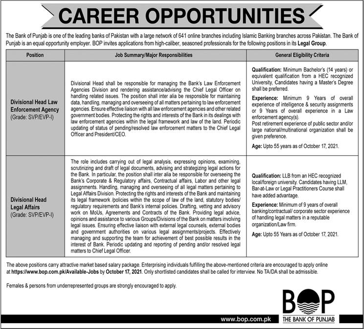 Bank Of Punjab Lahore Jobs 2021