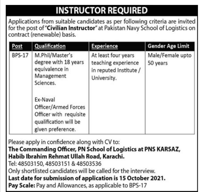 Pakistan Navy School Karachi Jobs 2021