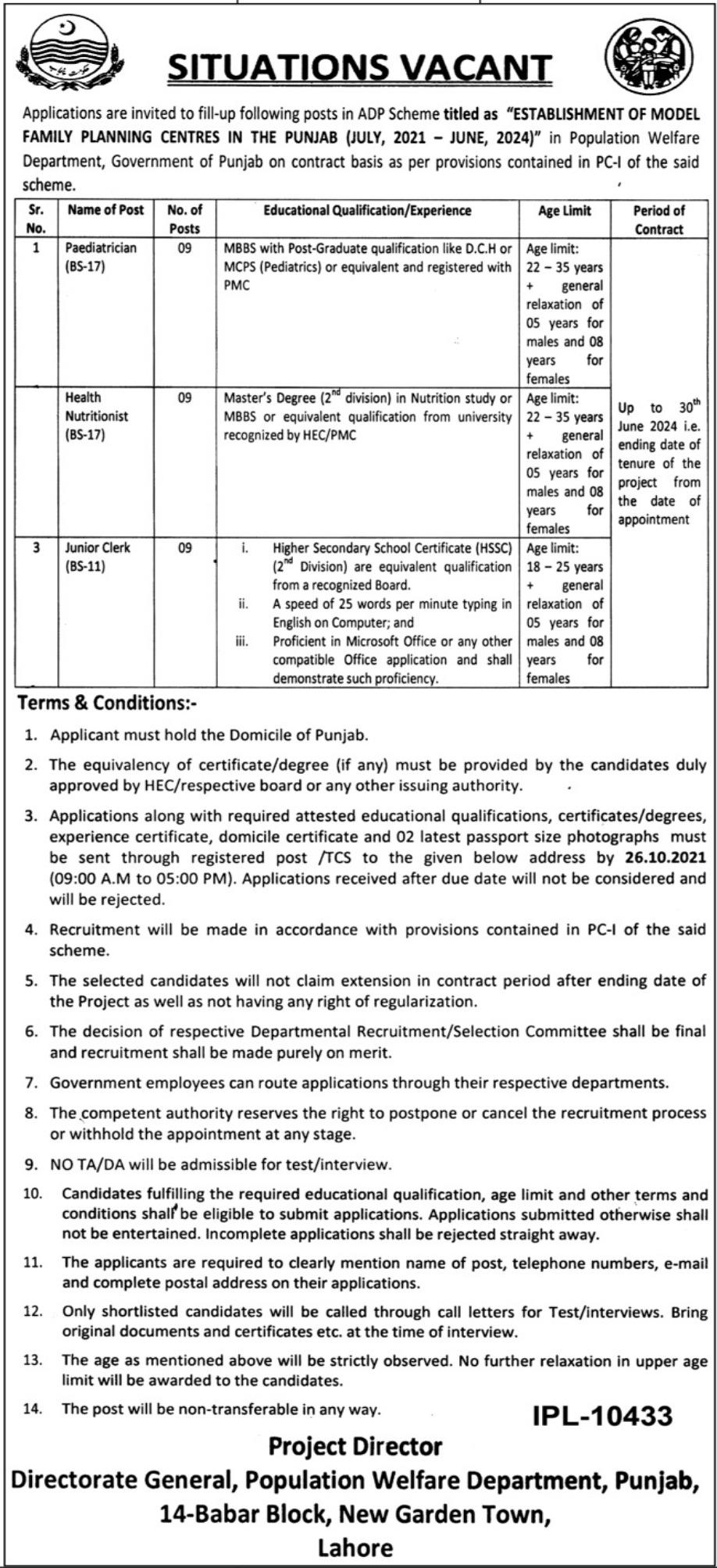 Population Welfare Department Lahore Jobs 2021